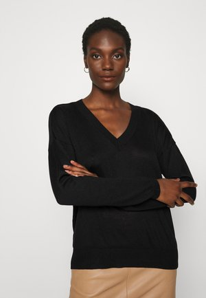 BASIC- SOFT V-NECK - Strikkegenser - black
