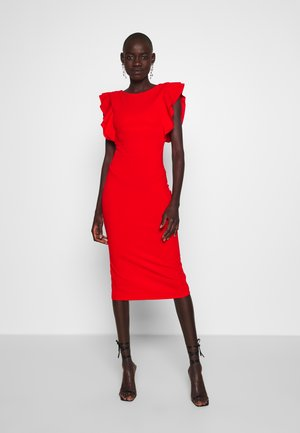 FRILL SLEEVE MIDI DRESS - Vestido largo - red