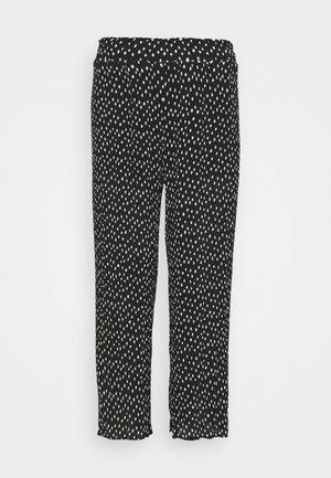 WIDE LEG PLISSE TROUSERS - Trousers - black