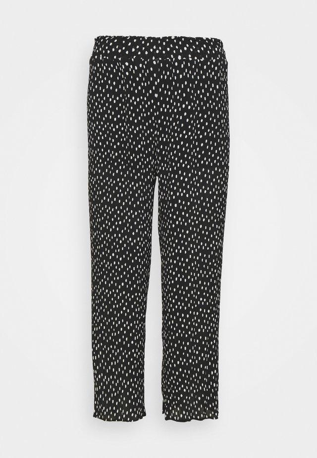 WIDE LEG PLISSE TROUSERS - Pantaloni - black