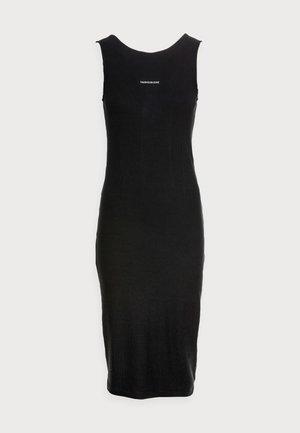 RIB ZIP DRESS - Trikoomekko - black