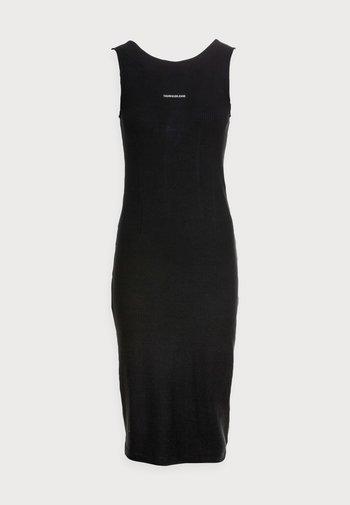 RIB ZIP DRESS - Žerzejové šaty - black