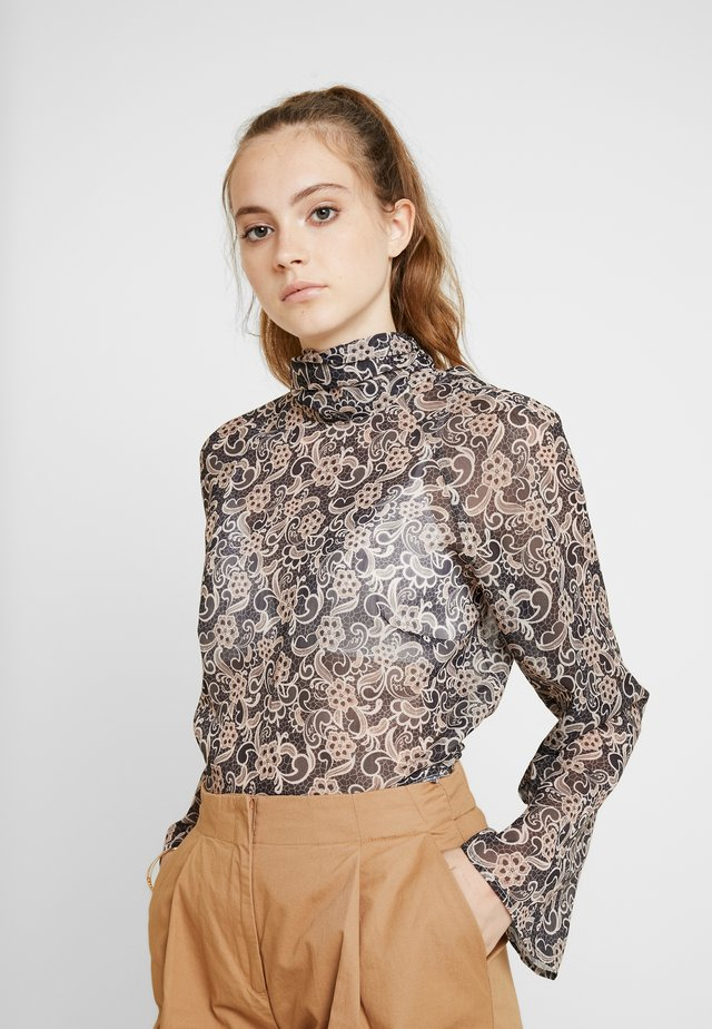 LACE PRINT TIE NECK BLOUSE - Blouse - multi
