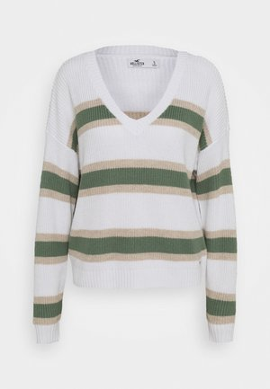 CORE VNECK - Sweter - white/green