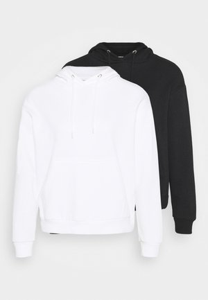 BOXY HOODY WITH POCKET 2 PACK - Mikina s kapucí - black/white