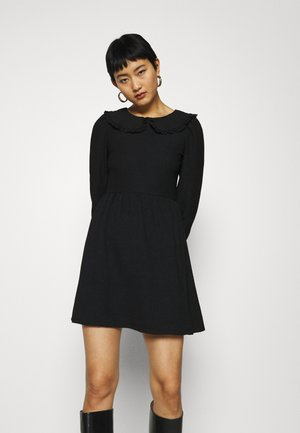 FOCHETTE COLLARED LONG SLEEVE DRESS - Day dress - black