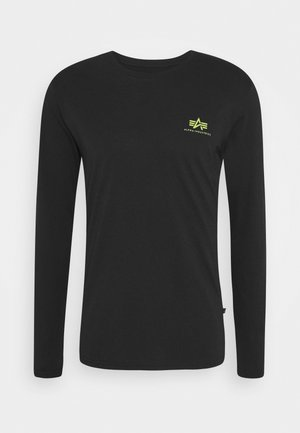 SMALL LOGO  - Long sleeved top - black/neon yellow