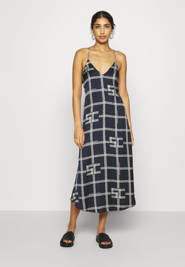 ALLOVER PRINTED SLIP DRESS - Day dress - dark blue/off white