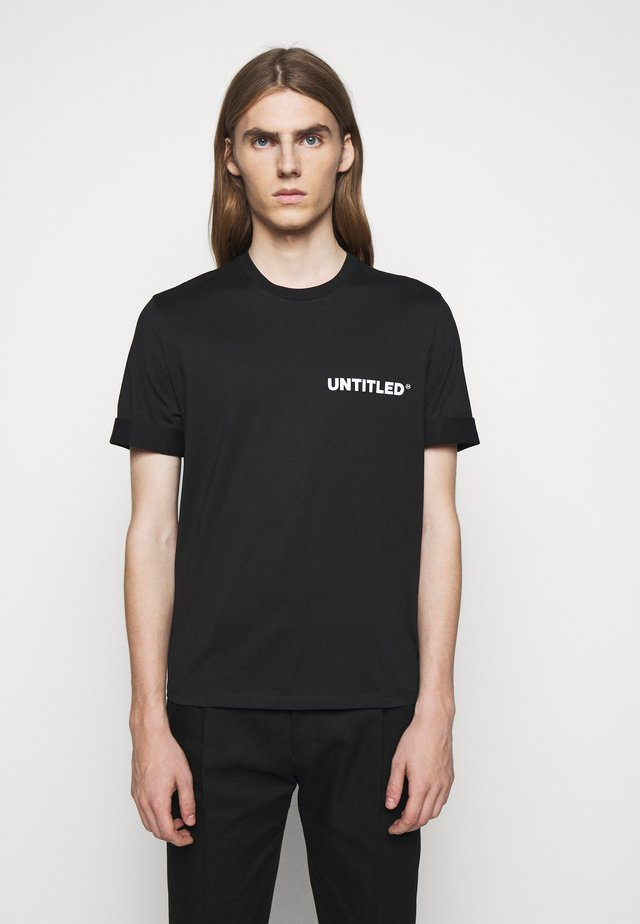 UNTITLED SLIM ROLLED UP - T-paita - black/white
