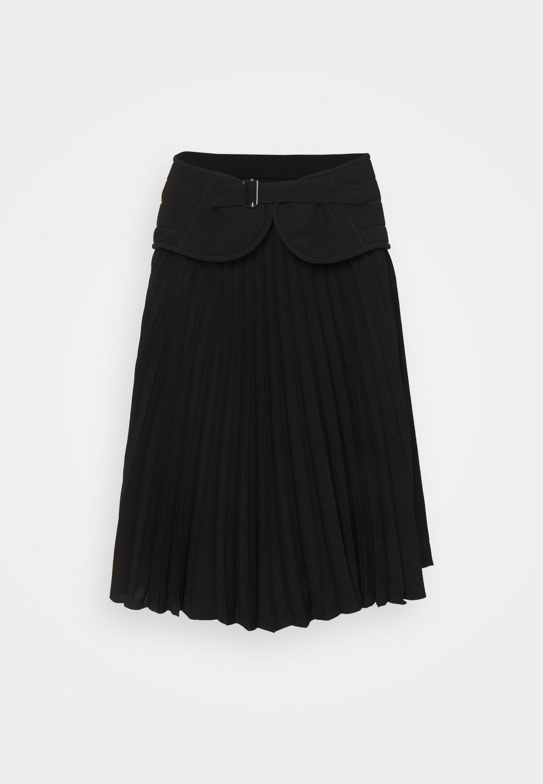 Femme SOLEIL PLEATED SKIRT WITH QUILTED BIKER BELT - Jupe plissée