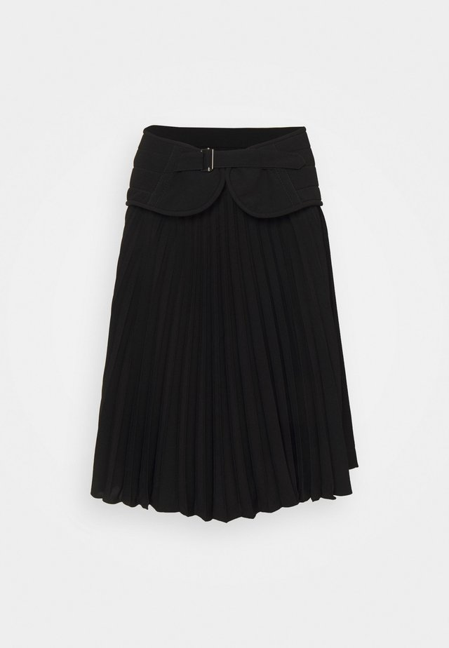 SOLEIL PLEATED SKIRT WITH QUILTED BIKER BELT - Plooirok - black