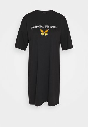 OVERSIZED DRESS ANTI BUTTERFLY - Skjortekjole - black
