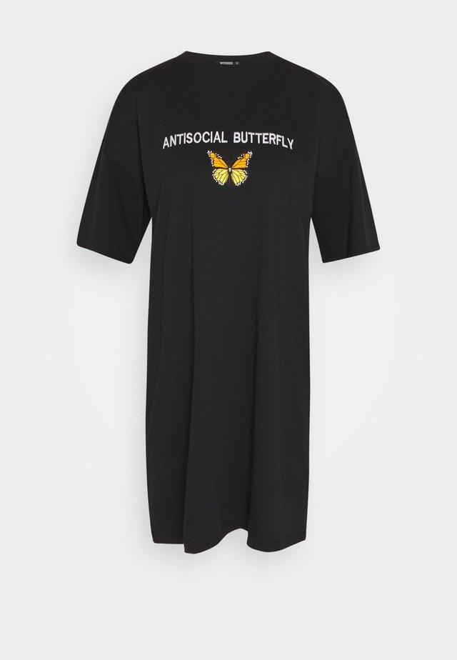 OVERSIZED DRESS ANTI BUTTERFLY - Vestido camisero - black