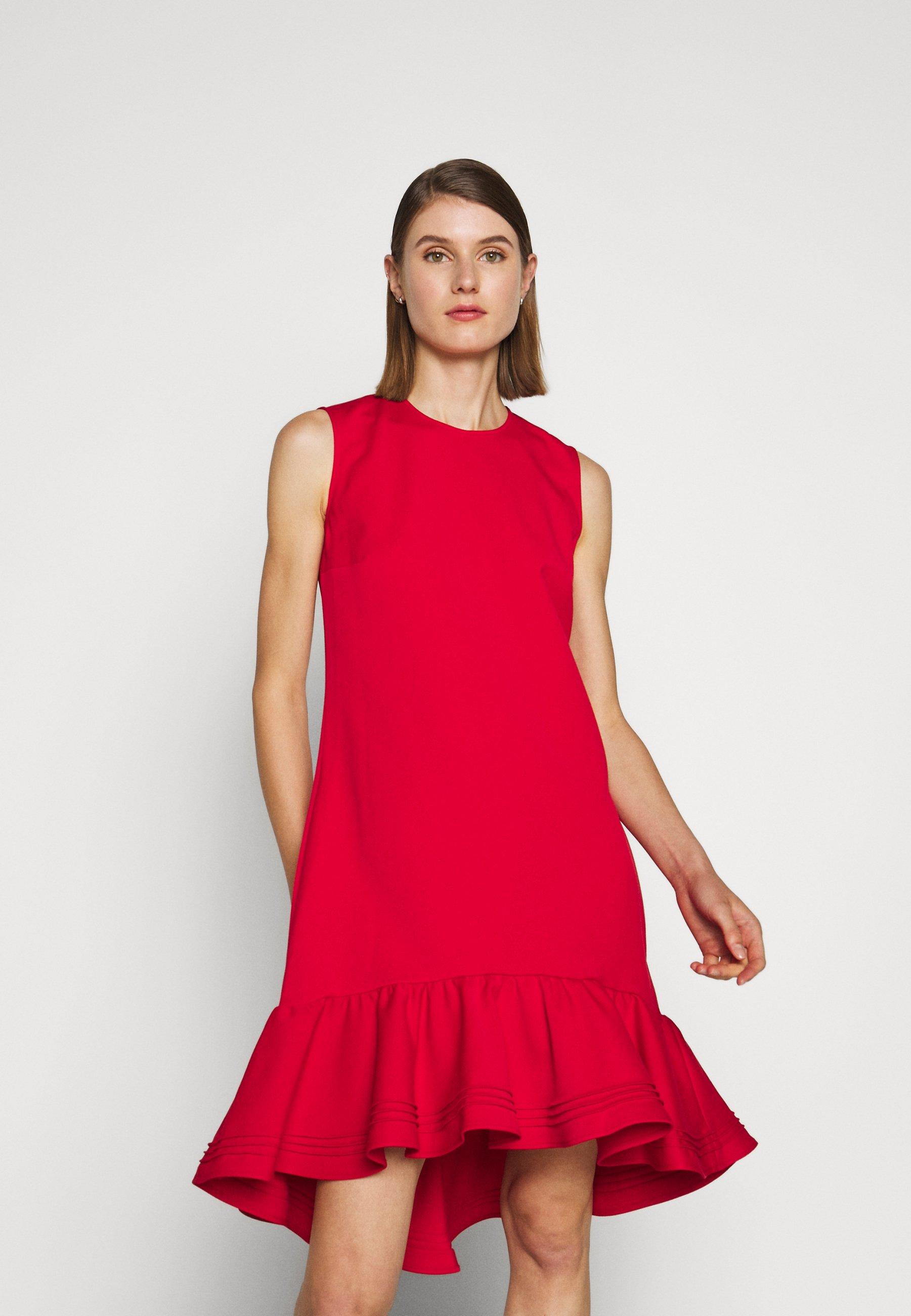 Mejor Proveedor Ropa de mujer Victoria Victoria Beckham PINTUCK FLOUNCE HEM SHIFT DRESS Vestido informal postbox red vV81zr