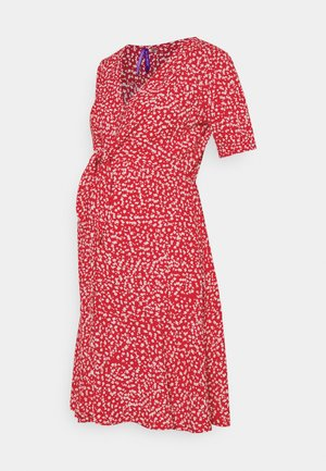 DAFFODIL TIE FRONT DRESS - Day dress - red