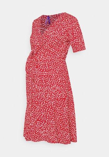 DAFFODIL TIE FRONT DRESS - Denní šaty - red