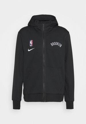 NBA BROOKLYN NETS THERMAFLEX SHOWTIME FULL ZIP HOODIE - Klubové oblečení - black/black/white