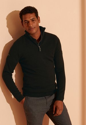 MERINO HENLEY - Fleece jumper - nightwatch black