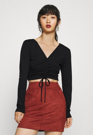 RUCHED FRONT CROP 2 PACK - Long sleeved top - black/taupe