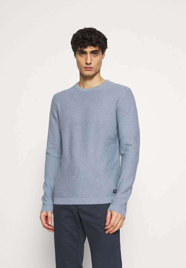 WAFFLE OPTIC TUCK STITCH CREW - Jumper - soft light blue melange