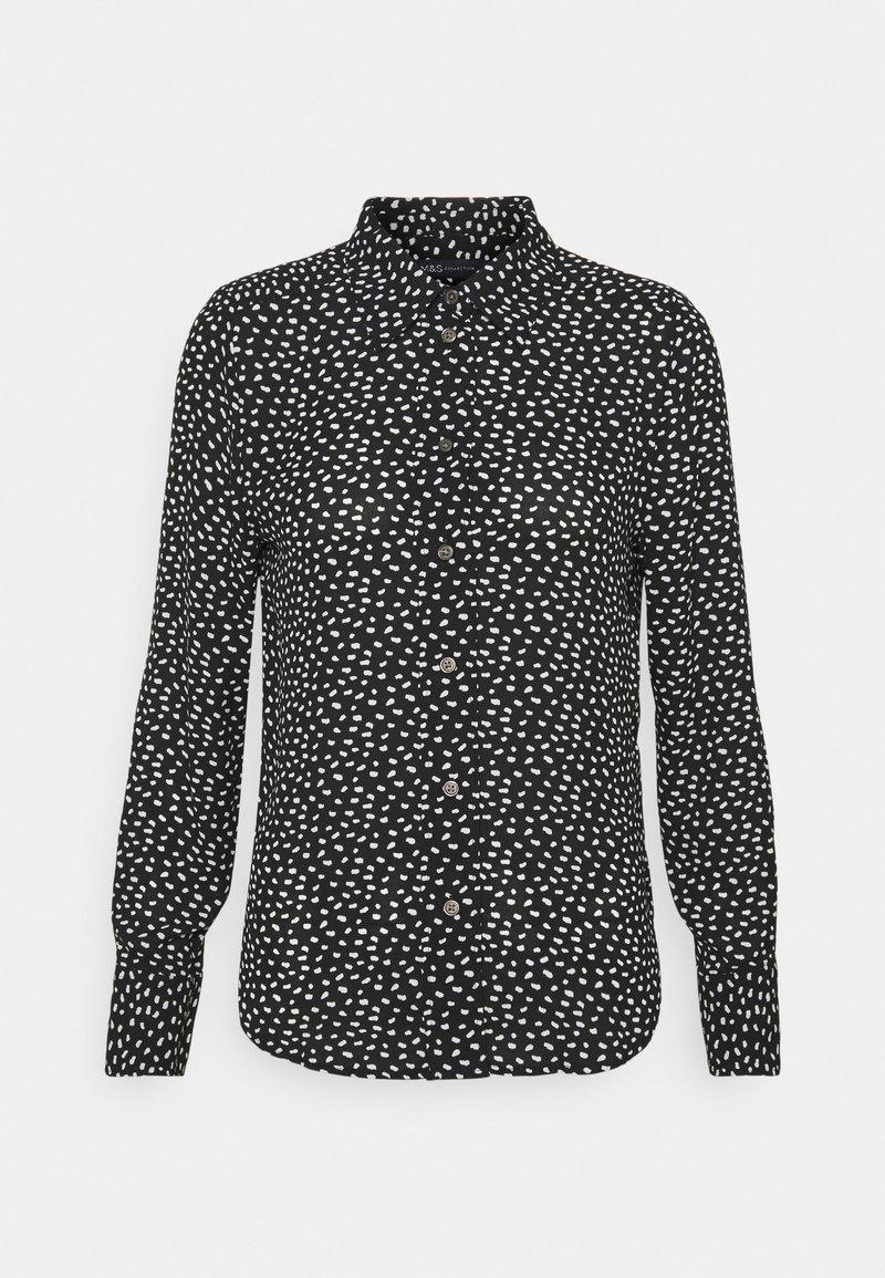 Marks & Spencer London - ANIMAL SHIRT - Button-down blouse - black