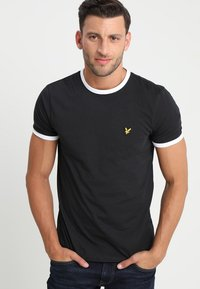 Lyle & Scott - RINGER TEE - Basic T-shirt - true black/white - 0