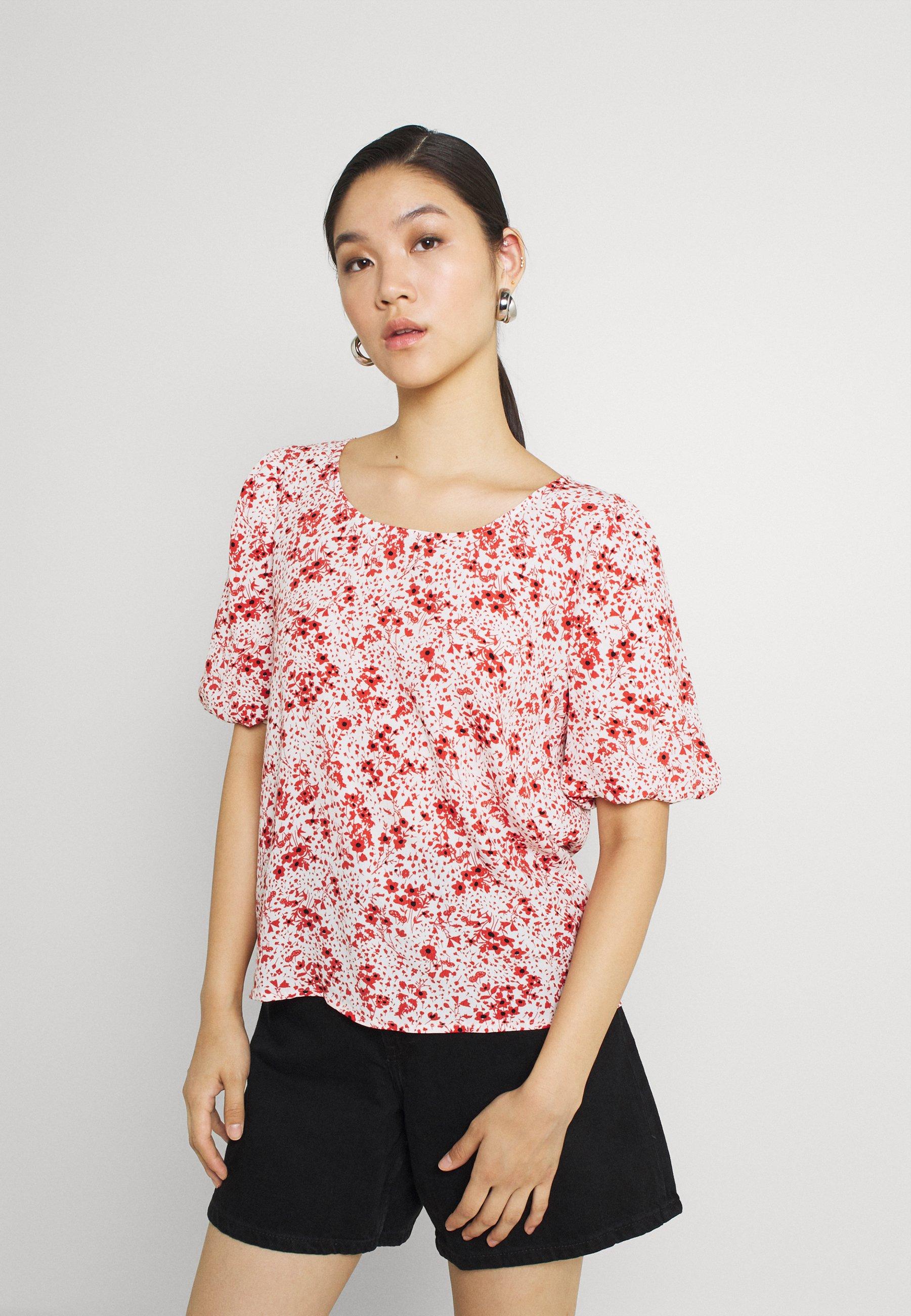 Donna JDYGAIA PUFF  - T-shirt con stampa - cloud dancer/mars red