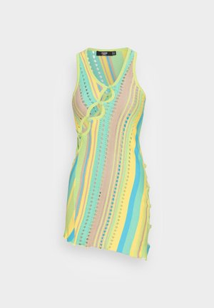 ENGINEERED DRESS WITH ASYMMETIC BUTTON DETAIL - Cocktailkjole - yellow/green/blue