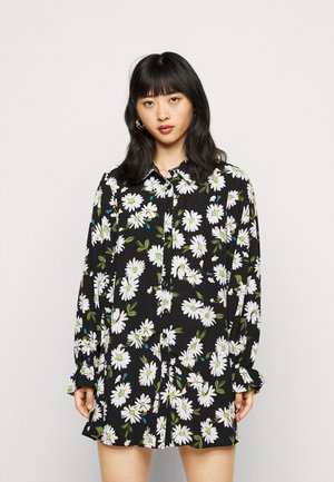 FRILL CUFF DRESS FLORAL - Shirt dress - black