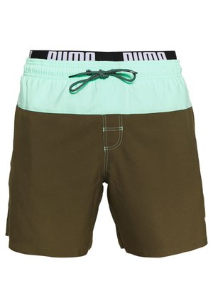 SWIM MEN LOGO MEDIUM LENGTH - Swimming shorts - olive/mint