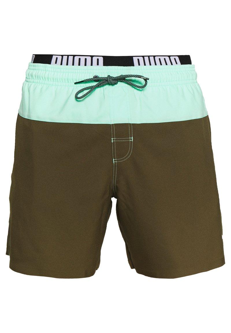 Puma - SWIM MEN LOGO MEDIUM LENGTH - Swimming shorts - olive/mint