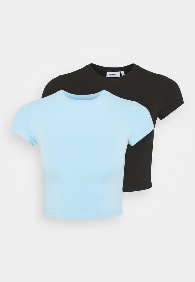 SABRA 2 PACK - T-shirts - black/blue light