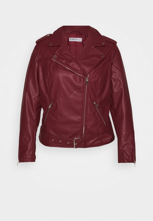JACKET - Faux leather jacket - burgundy