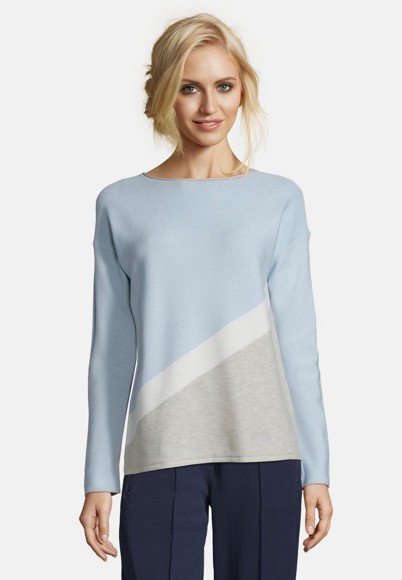 Betty & Co - MIT COLOR BLOCKING - Jumper - blue/silver