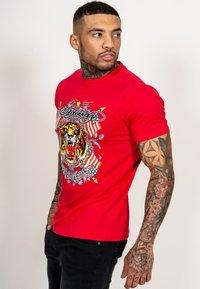 Ed Hardy - TIGER LOS T-SHIRT - Print T-shirt - red - 2