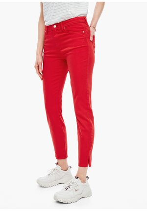 SLIM FIT: ANKLE-JEANS - Slim fit jeans - red