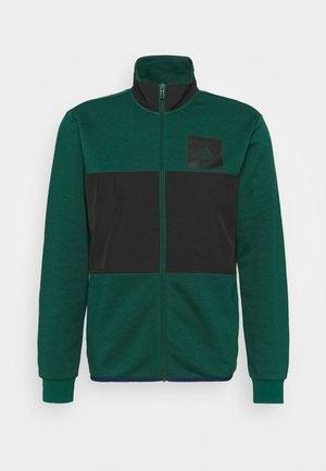 TRACK ESSENTIALS - Sweat à capuche zippé - collegiate green/black