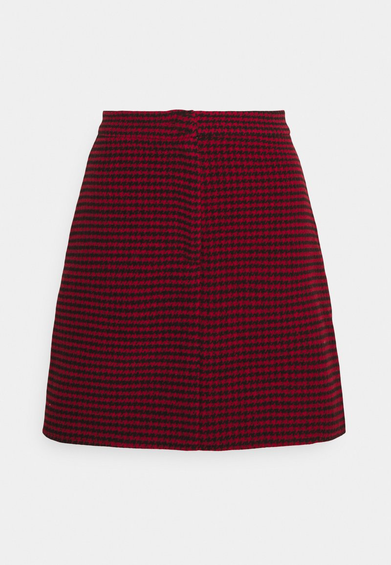 Missguided Petite - DOGTOOTH PRINT MINI SKIRT - A-line skjørt - red/black