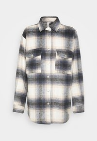 Nly by Nelly - LONG CHECK SHIRT - Button-down blouse - blue/white - 0