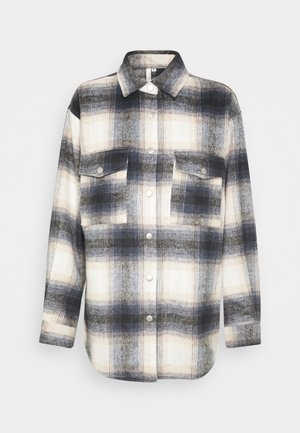 LONG CHECK SHIRT - Button-down blouse - blue/white