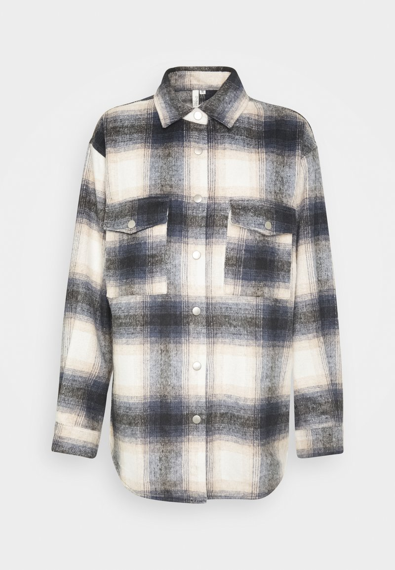 Nly by Nelly - LONG CHECK SHIRT - Button-down blouse - blue/white