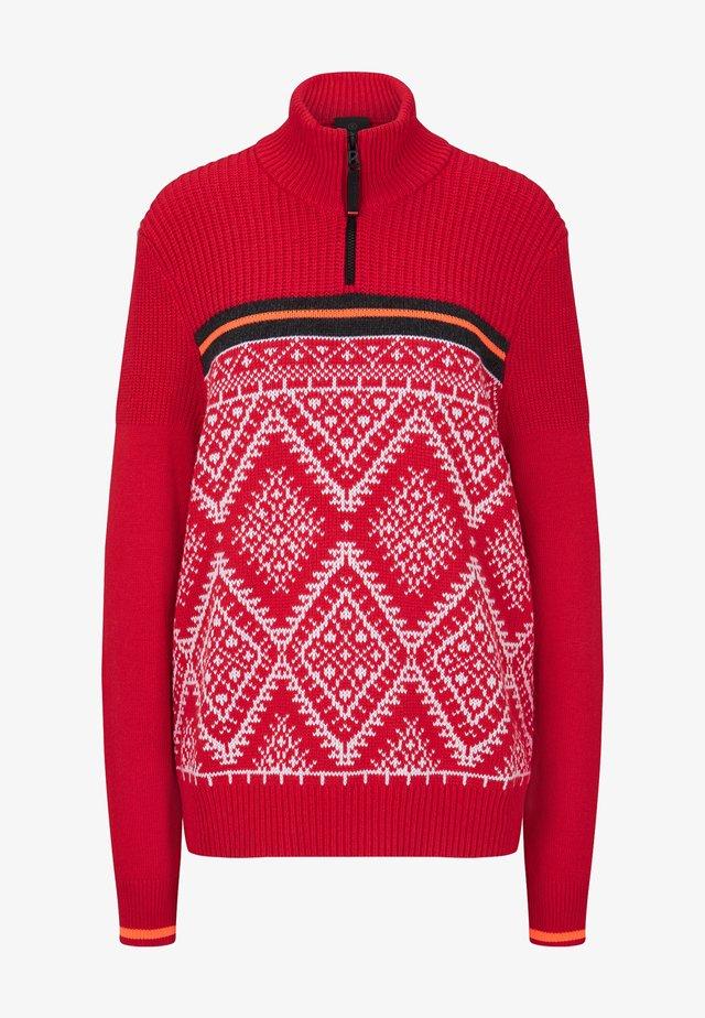 CAIO - Pullover - rot/weiß