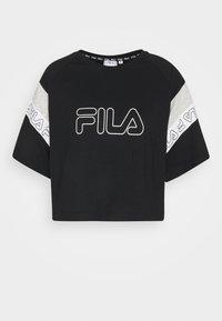LOLLE - Print T-shirt - black/light grey melange/bright white