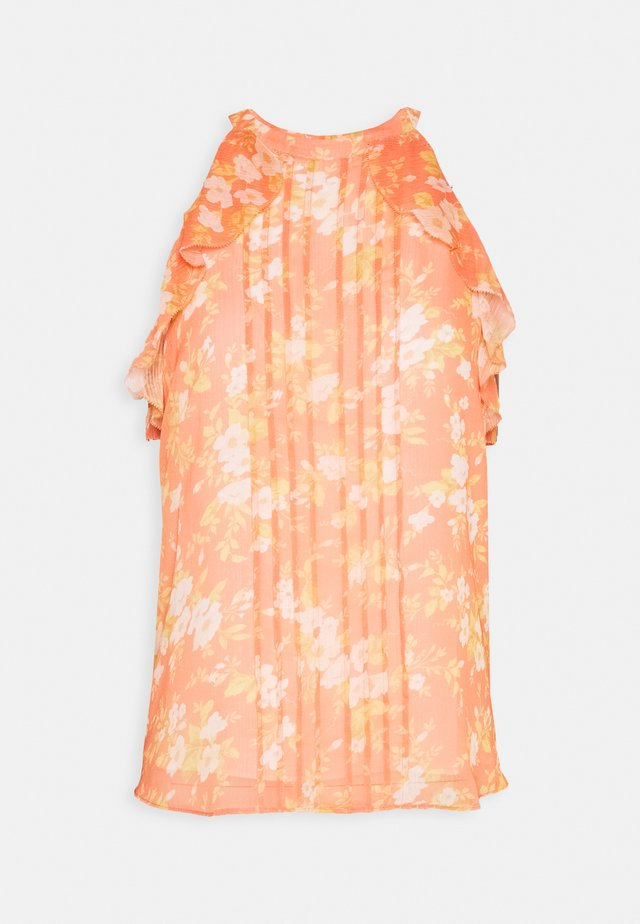 MICHELLE NECK TIE RUFFLE TANK - Blouse - melon bouquet
