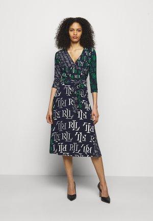 PRINTED MATTE DRESS - Jersey dress - navy