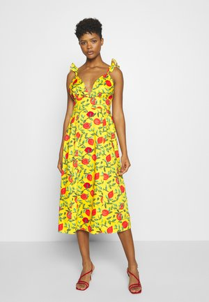 PLUNGE RUFFLE STRAP CAMI MIDI DRESS - Day dress - yellow/red