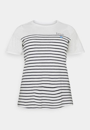 STRIPED CHEST EMBRO - T-shirt imprimé - whisper white