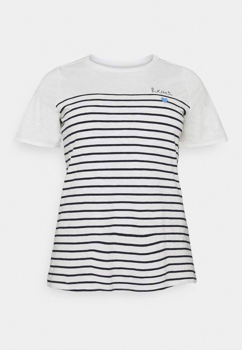 MY TRUE ME TOM TAILOR - STRIPED CHEST EMBRO - Print T-shirt - whisper white