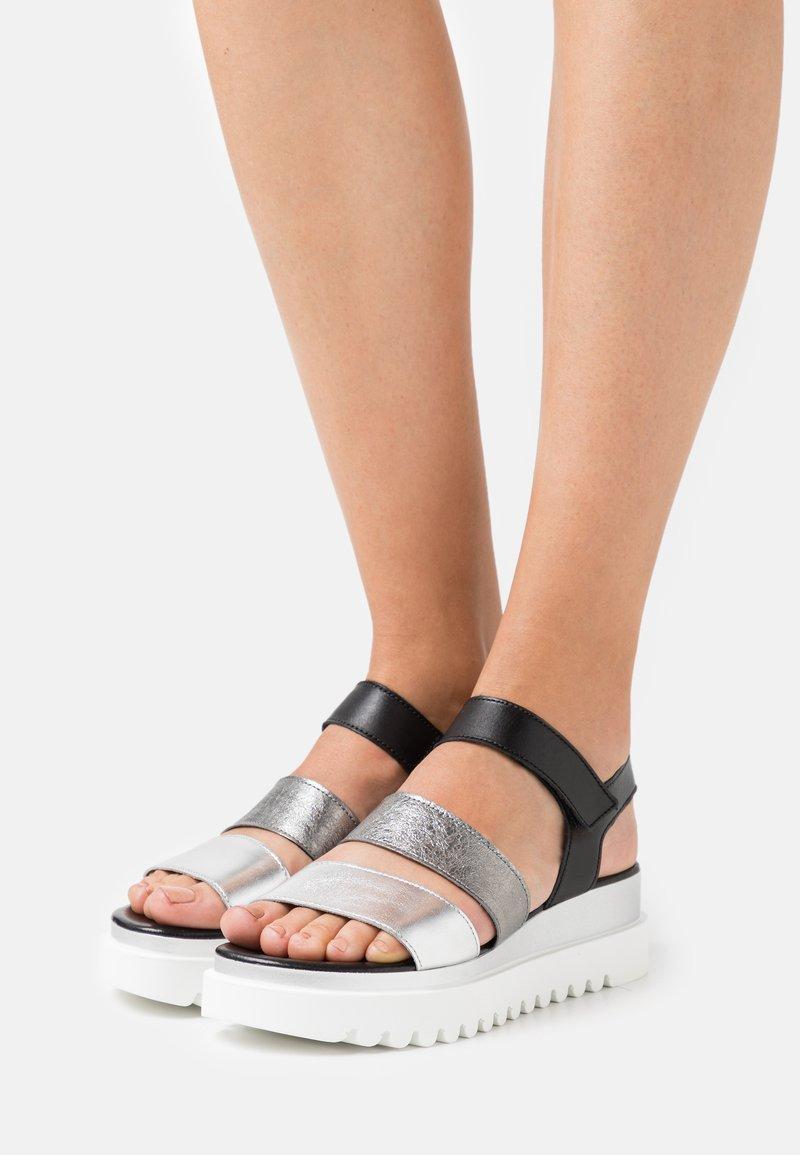 Gabor - Platform sandals - silber/stone/schwarz