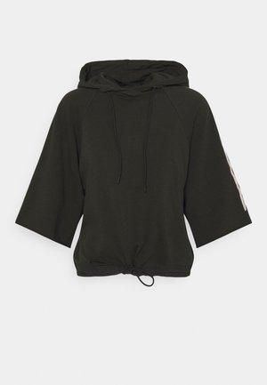 STRIPE RAW CROPPED HOODIE - Sweatshirt - raven